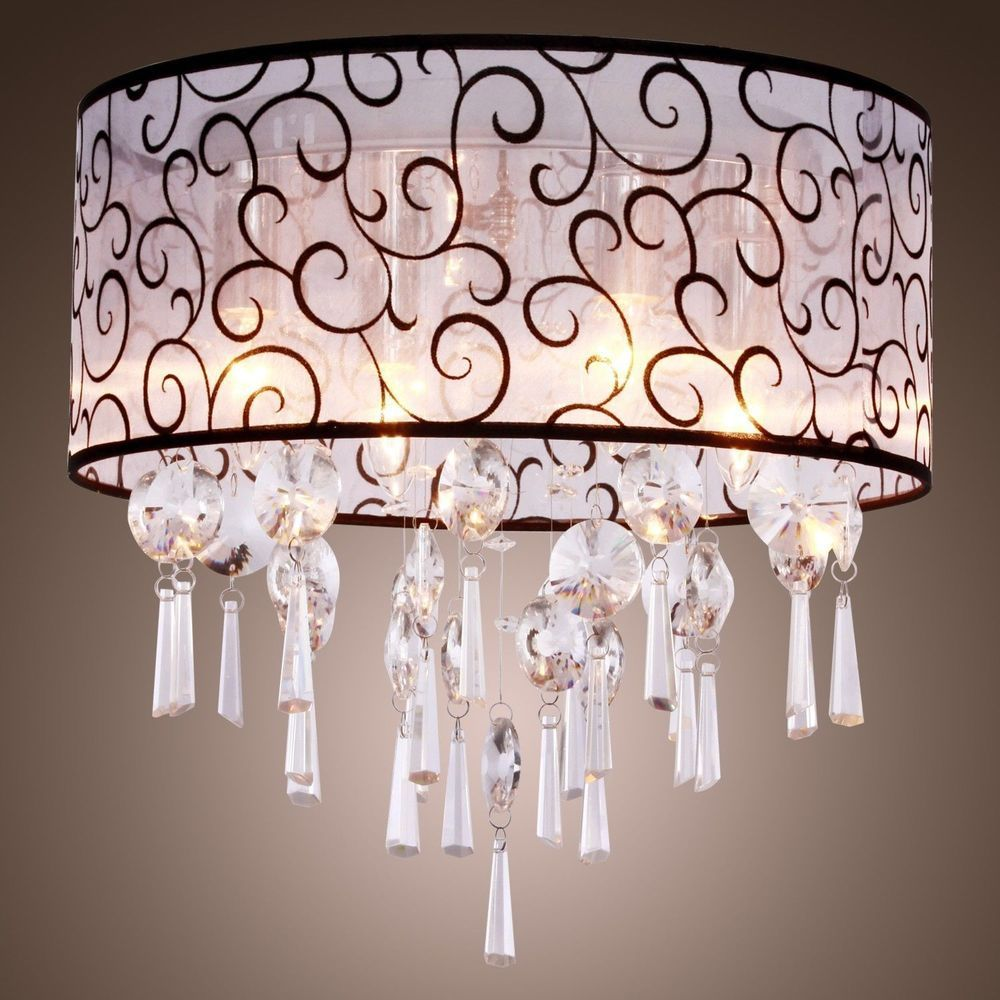 New Drum Shade Crystal Ceiling Chandelier Pendant Light Fixture