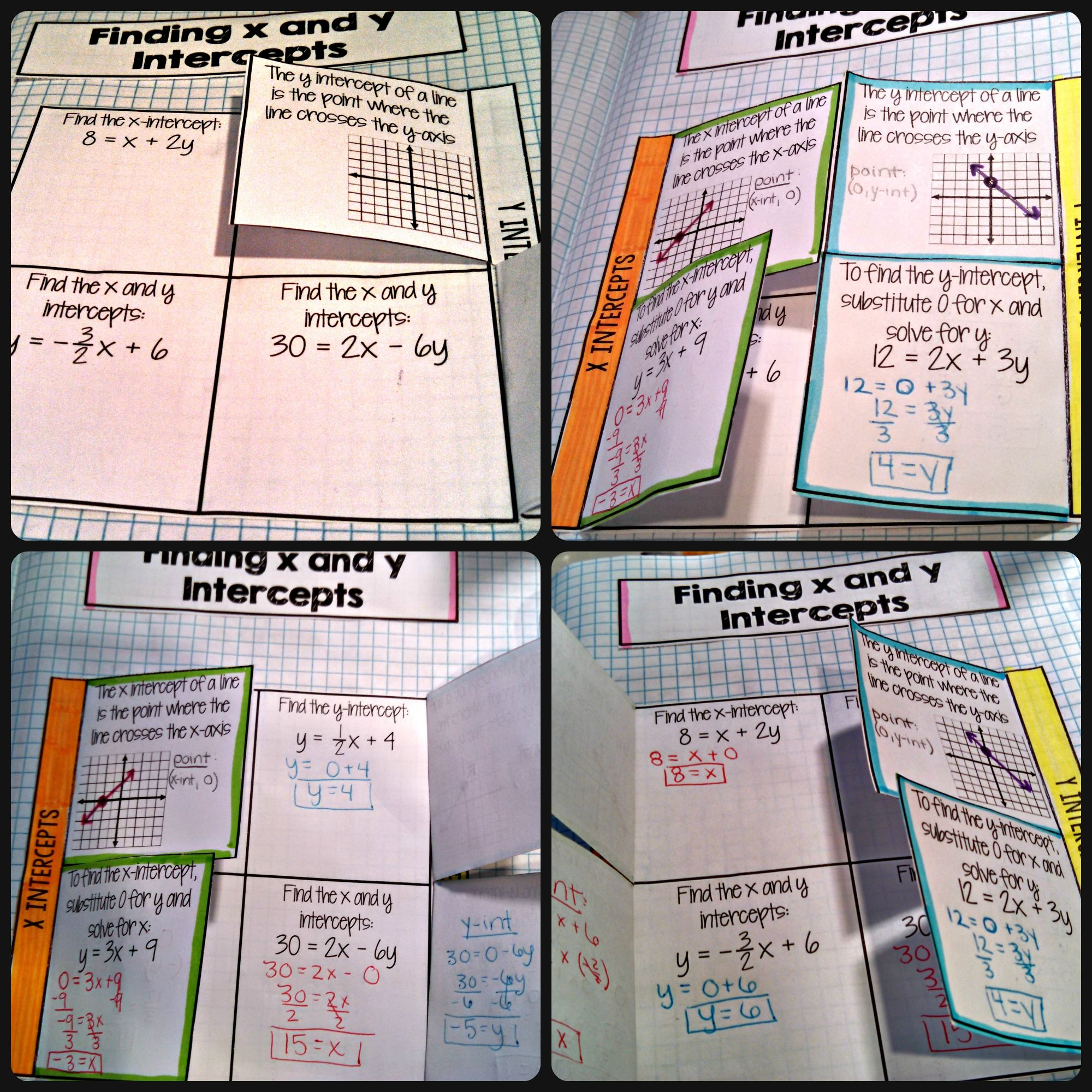 Finding X And Y Intercepts Flip Book Algebra Interactive