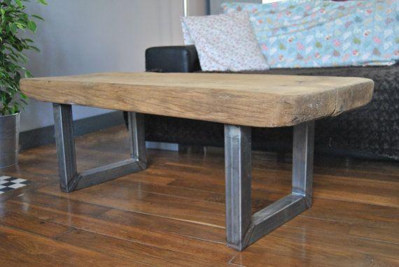 Table Basse Chene Et Acier Brut Ancien Workbench Par Littlejohnh Home Decor Furniture Decor