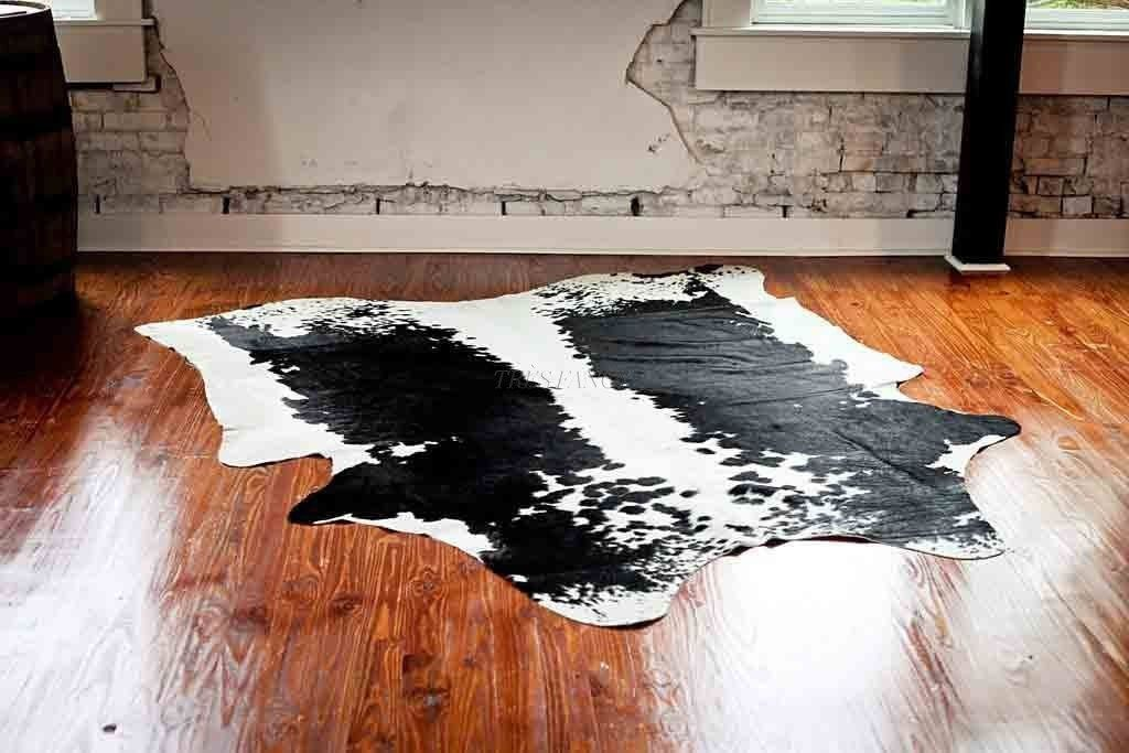 Authentic Large 6 X 7 Cowhide Rug Image Cabin White