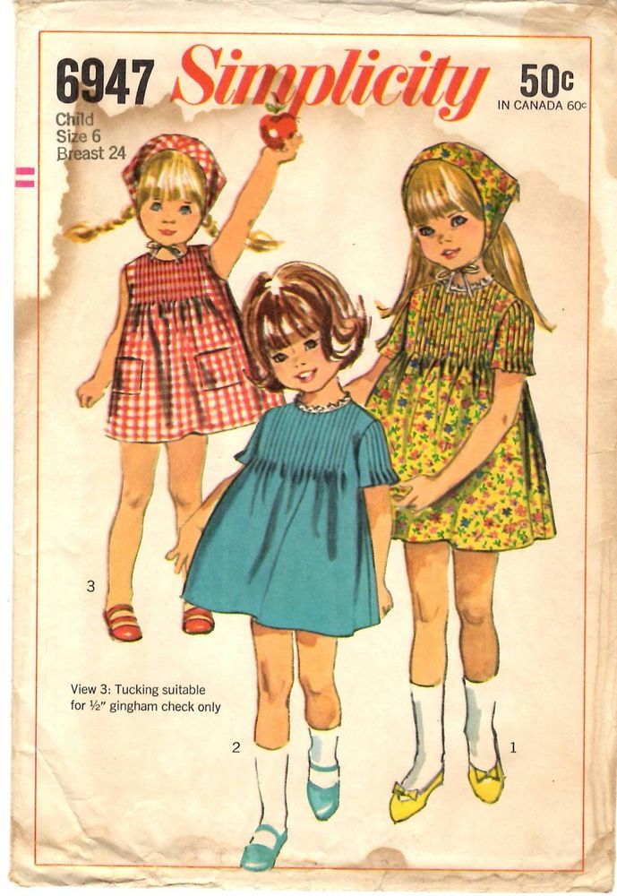 Vintage 1960s Simplicity Sewing Pattern Girl\'s DRESS & SCARF 6947 Sz ...