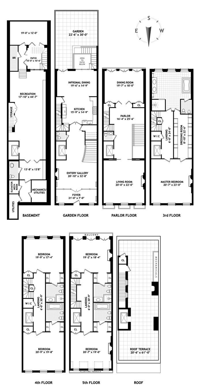 Classic Upper East Side Mansion Wants 40m After Modern Revamp Town House Floor Plan Narrow House Plans Architectural Floor Plans