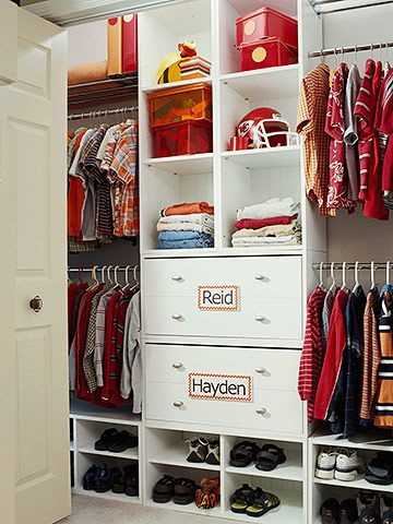 Storage Solutions for Two     When kids share a closet, strategic design can keep peace. The symmetrical layout in this closet gives each boy his own custom storage area, starting with a center tower of drawers and adjustable-shelf cubbies. Big, bold labels on foam-core board playfully designate ownership of each drawer. An equal amount of open nooks across the floor provide plenty of organization space for shoes. One shelf is accessible for each kid's folded clothes. The higher shelves…