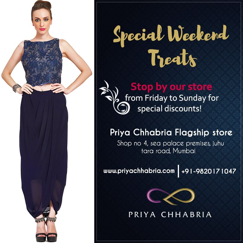 Step in our store this weekend and avail special discounts!  #Priyachhabria #Specialweekend #treats #Specialoffers #discounts #bridalwear #partywear #christmas #christmasgift #sale #visitnow #fashionwear #cocktailwear #weddingcollection #bride #indianwear #traditional #sarees #gown #lehenga #shopnow