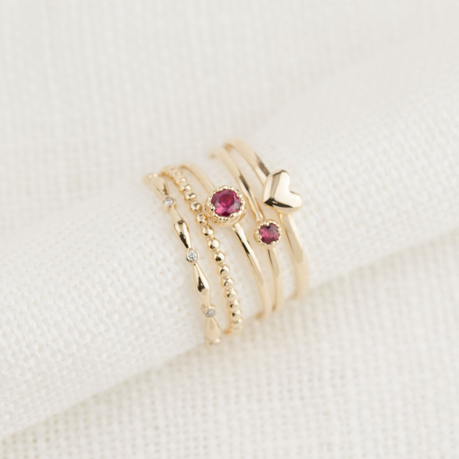 Ruby stacking ring set of 5 rings, Dainty ruby stacking ring, July ...