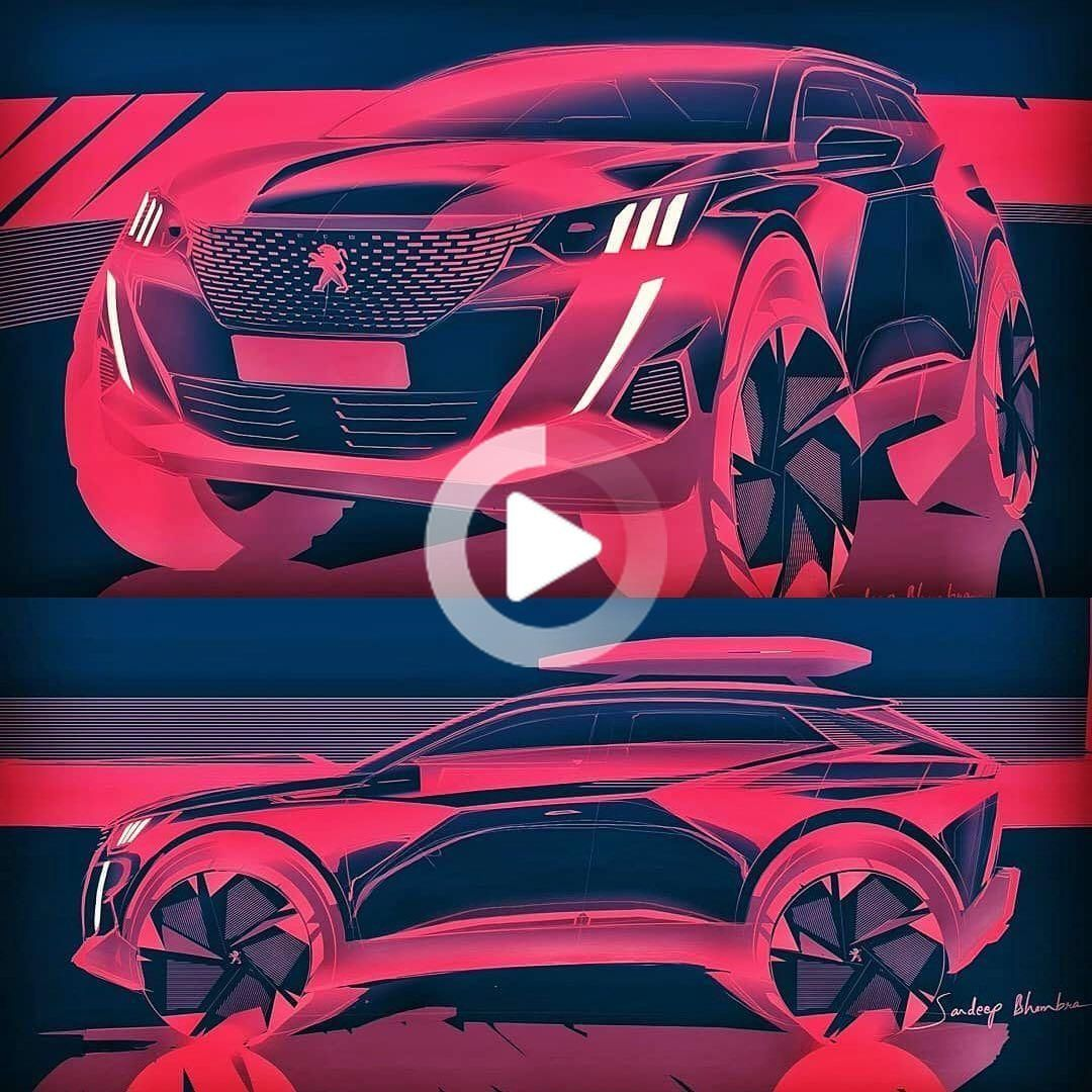 2020 Peugeot 2008 official sketches by Sandeep Bhambra @sandeep.bhambra  Via @gillesvidal_official  #cardesign #car #design #carsketch… #cars #carphotos