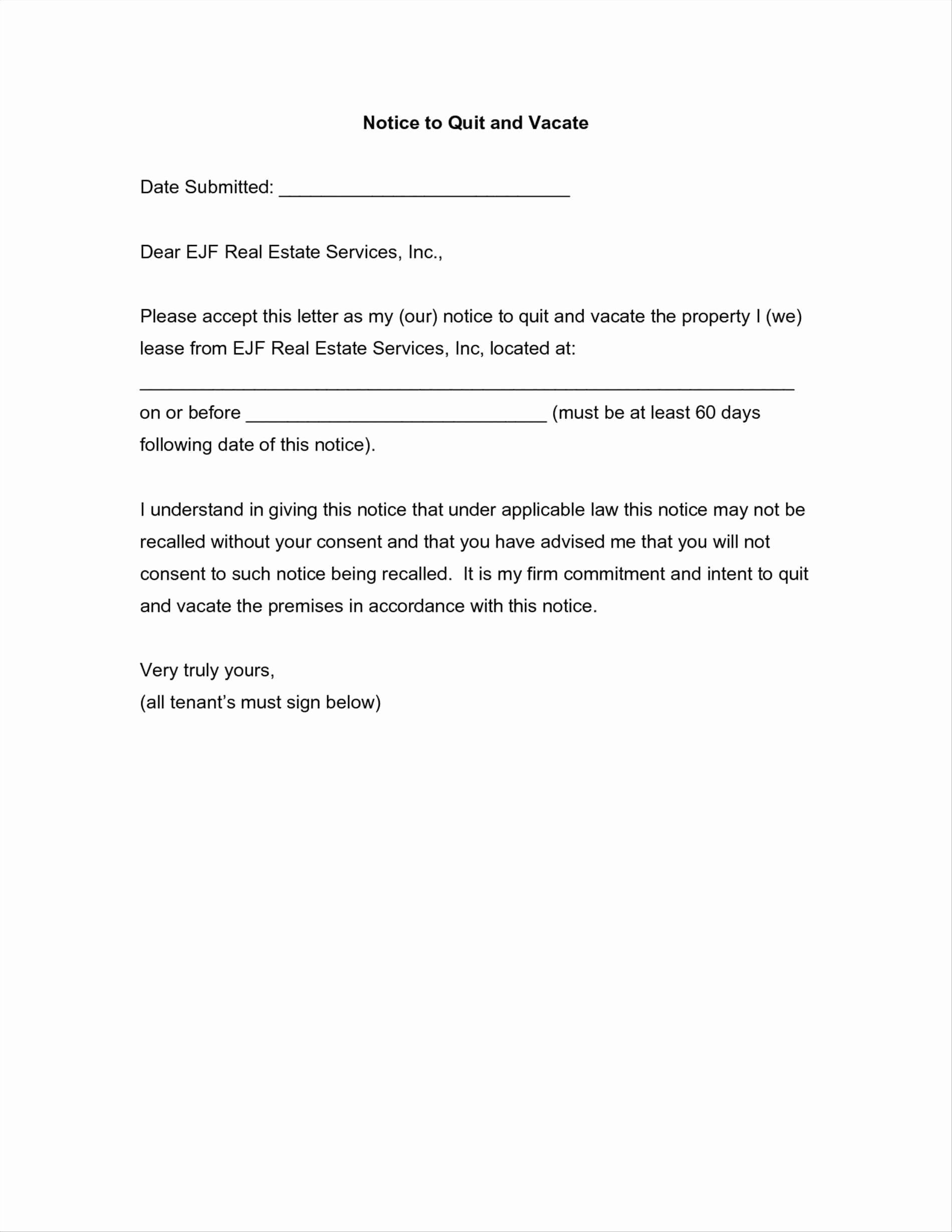 Written Notice To Vacate Templates Elegant Notice To Vacate Apartment Letter Template Samples Letter Templates Lettering Receipt Template