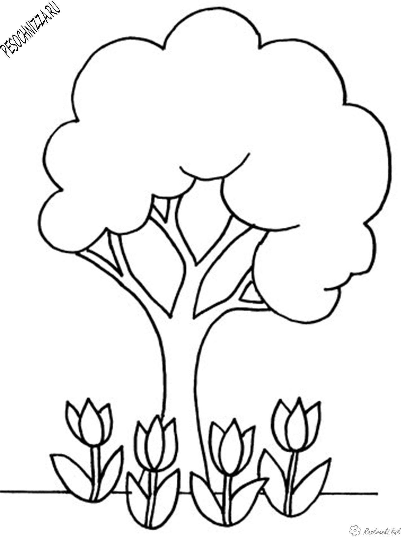 Детская раскраска деревья, цветы | Раскраски, Книжка ...
