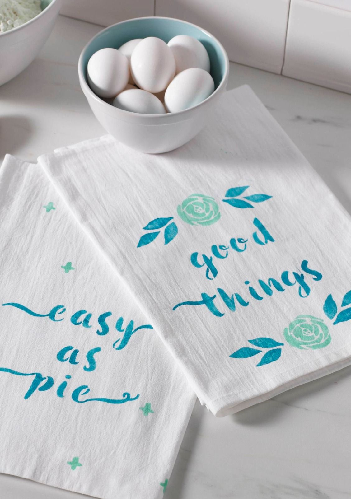Stenciled Tea Towels with Phrases | Catchy phrases, Stenciling and ...