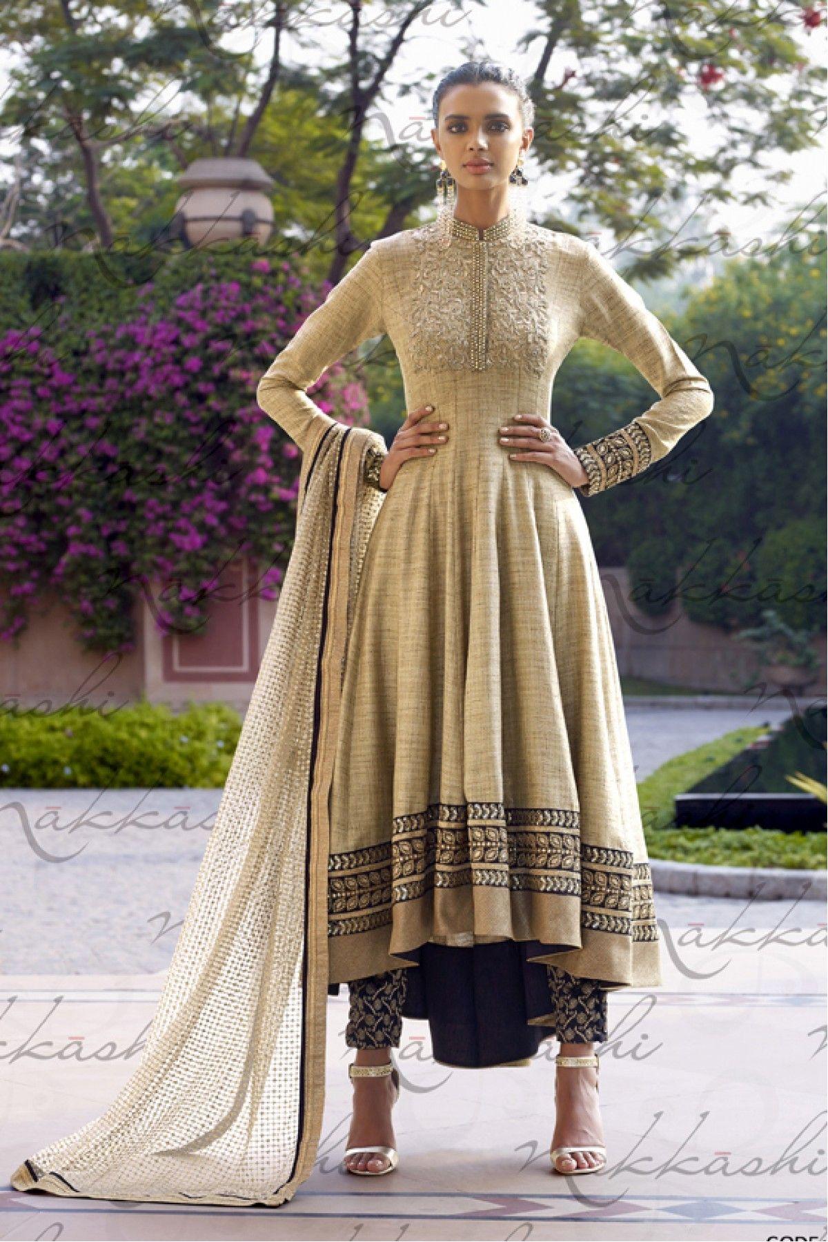 Designer salwar kameez mesmeric peach color net designer suit - Beige Colour Khadi Silk And Santoon Fabric Designer Semi Stitched Salwar Kameez Comes With Matching Jacquard