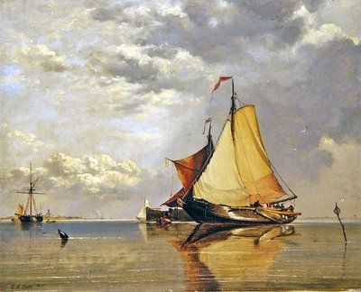 Dutch Boats off Fort Lillo, Mouth of the Scheldt, 1845 by Edward William Cooke