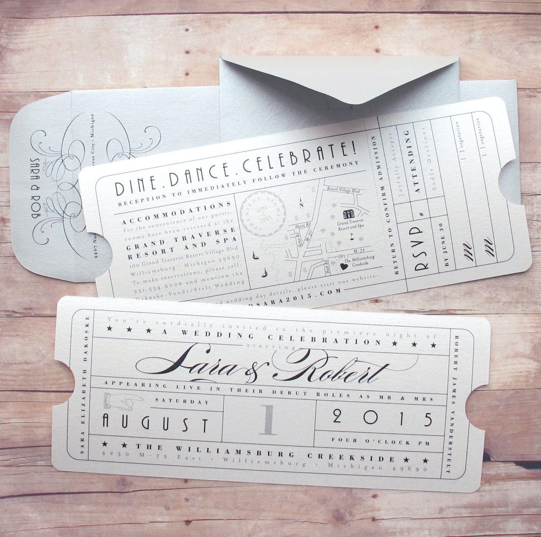 Vintage Ticket Wedding Invitation with Ticket Insert Card 2