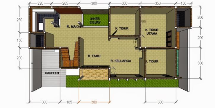 20 Gambar Denah Rumah Ukuran 8x10 3 Kamar Tidur Denah Rumah Rumah Minimalis Rumah