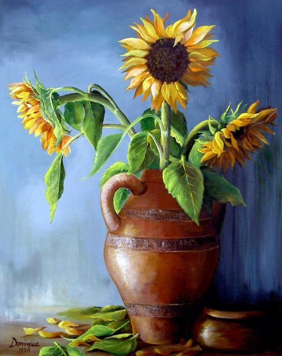 Sunflowers In Vase By Dominica Alcantara Sunflower Painting Flower Art Painting Flower Painting