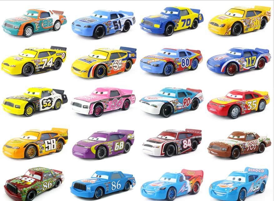 Mattel Disney Pixar Cars Racers No 4 - No 123 Toy Car 1:55