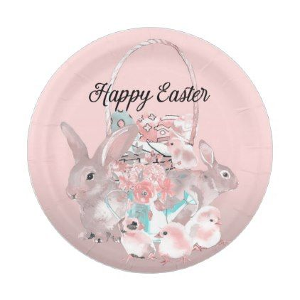 Cute pink easter birthday party egg hunt paper plate individual cute pink easter birthday party egg hunt paper plate individual customized designs custom gift ideas negle Image collections