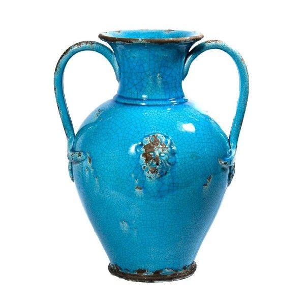 Pompei Large Turquoise Vase With Handles Tuscan Famhouse