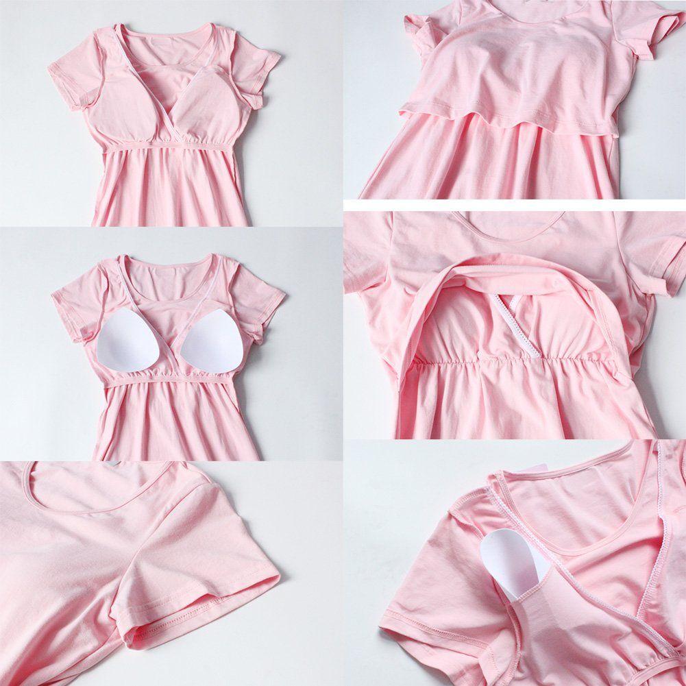 eeb60f63f0d09 YOYI FASHION Womens Shelf Bra Short Sleeve Breastfeeding Nightgown Nursing  Maternity Dress M -- Be