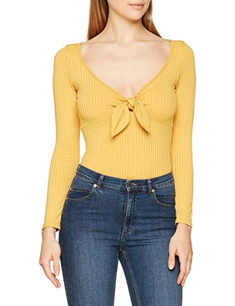 New Look Damen Langarmshirt Rib Tie Front, Yellow (Dark Yellow 87 ...