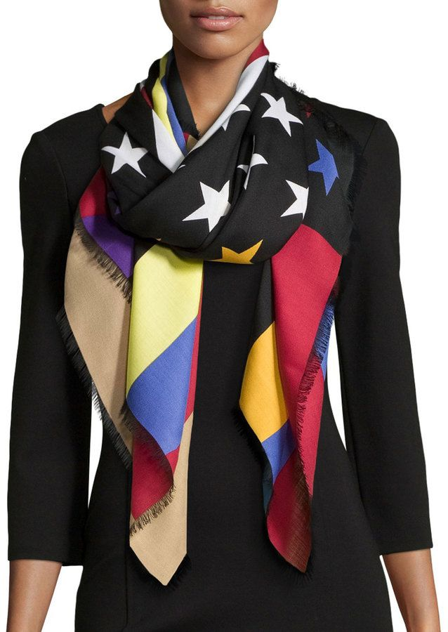 f6ddd281f Givenchy Colorful American Flag Scarf, Multi | Scarves- Dancing In ...