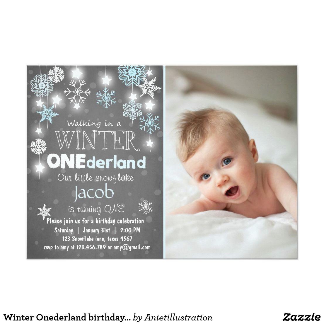 Winter Onederland birthday party invite Blue boy | Carter ...