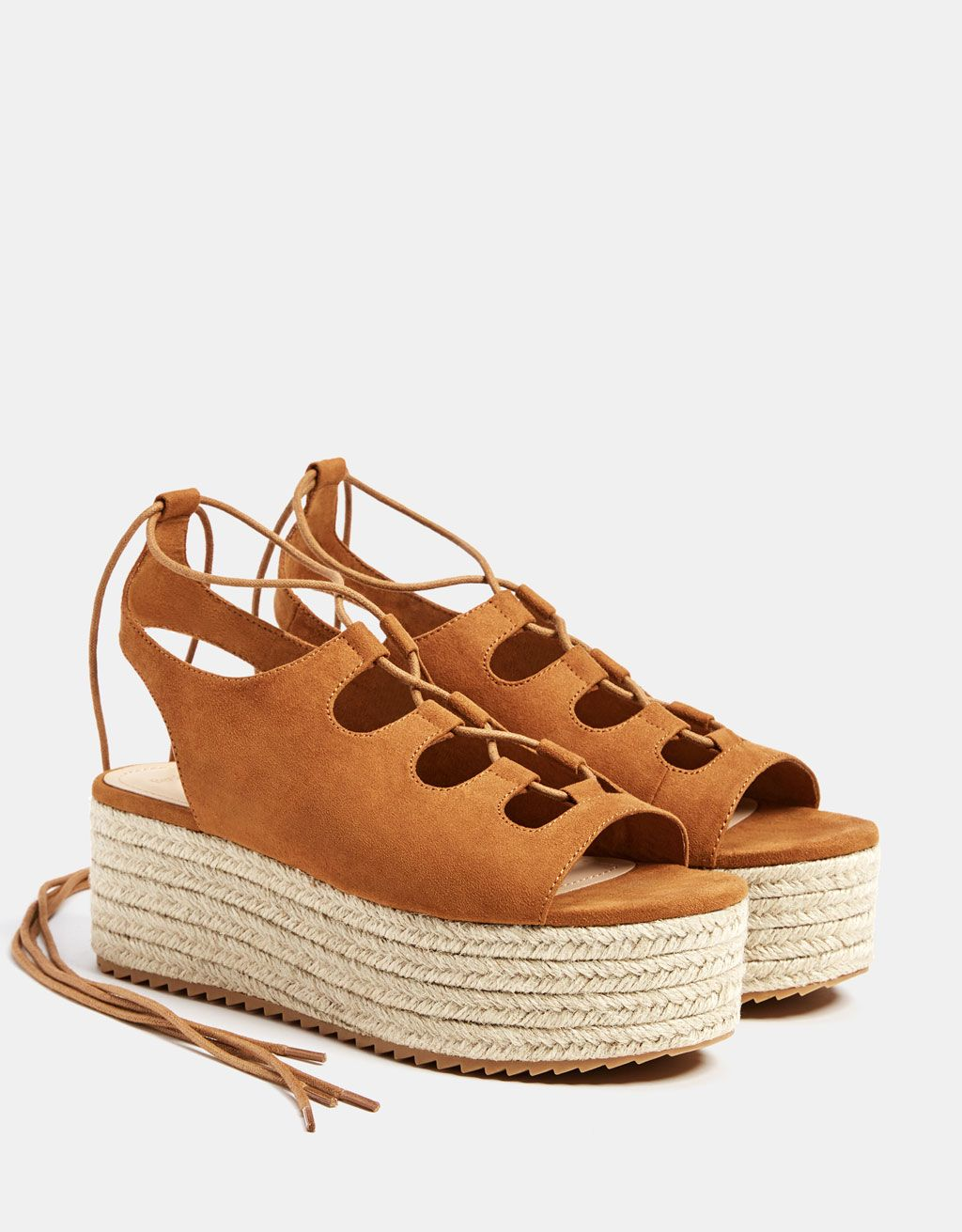06fc1e5f8 Jute platform lace-up sandals. Discover this and many more items in Bershka  with new products every week