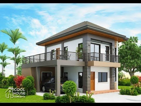 Two Storey Modern Residential House With Free Floor Plan