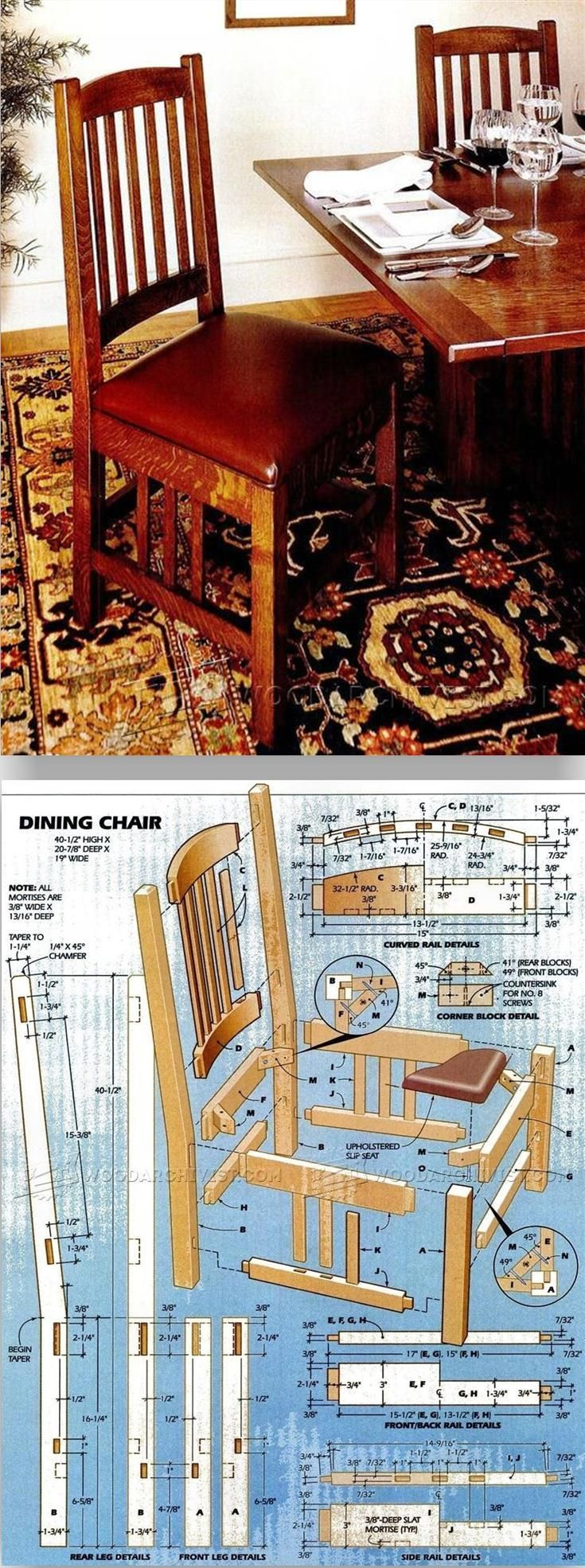 Morris chair plans - Dining Chair Plans Furniture Plans And Projects Woodarchivist Com