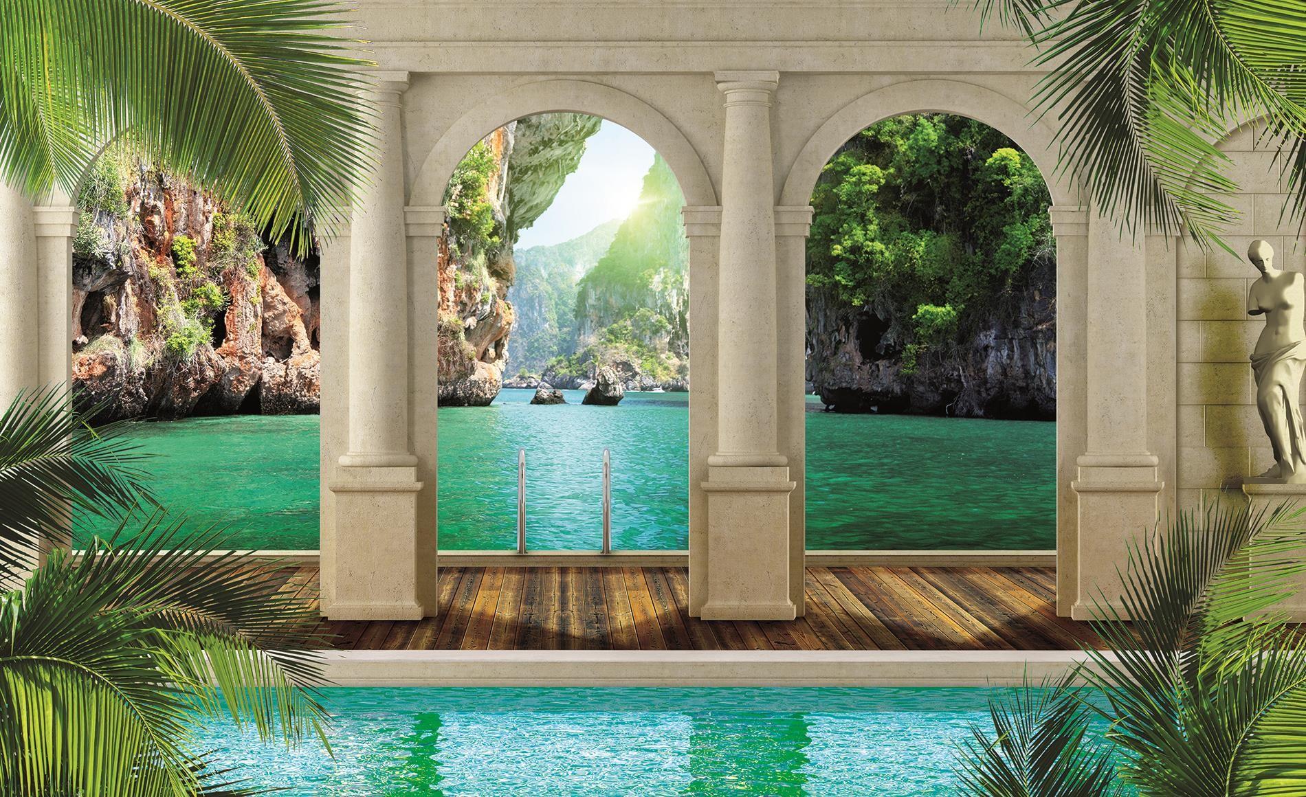 beach palm wall murals Landscape Wallpapers Palm Beach