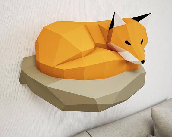 Papercraft Fox on rock, paper model, 3d paper craft, paper