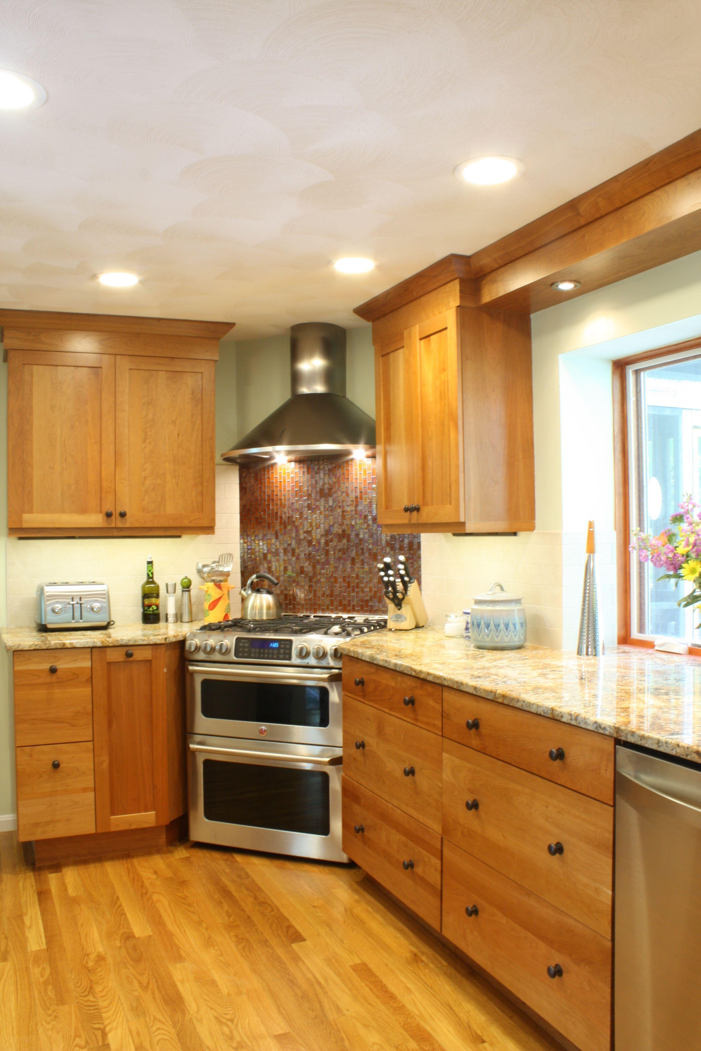 Cherry wood kitchen corner stove and corner sink stainless steel