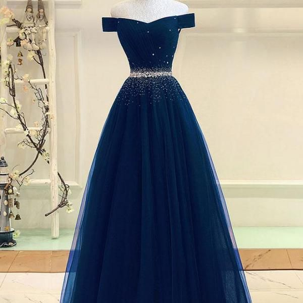 Off The Shoulder Navy Blue Evening Dress With Corset Back