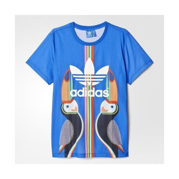 3f31f3912 adidas Boyfriend Trefoil Tee MULTI ($40) ❤ liked on Polyvore featuring  tops, t-shirts, relaxed fit tee, rubber tees, adidas trefoil t-shirt, ...