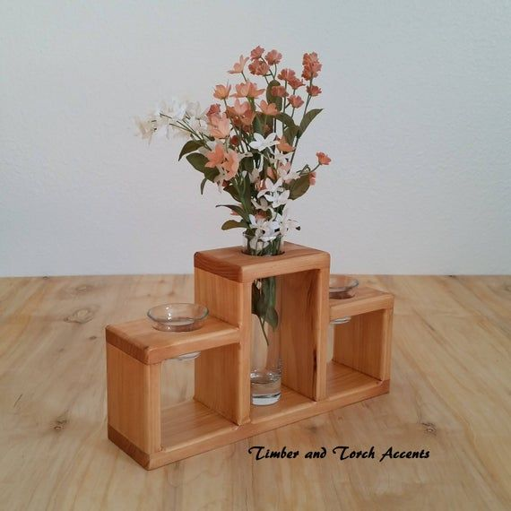 Wood bud vase votive holder, Table decor, Modern centerpiece, Coffee table decor, Wood tea light holder, Glass bud vase, Mantel centerpiece