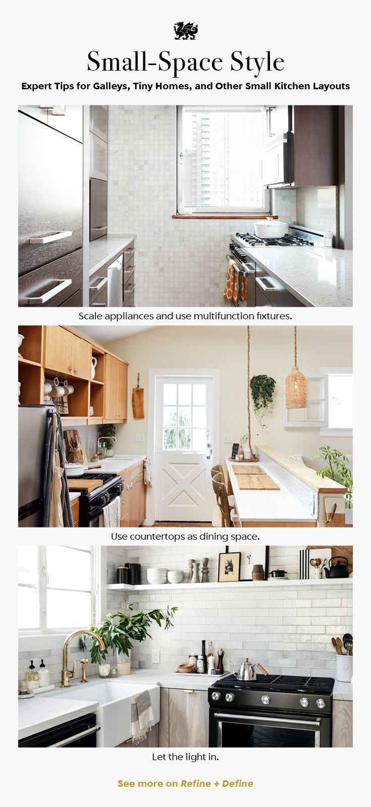 A small kitchen can still be beautiful and functional. From galley kitchens to tiny homes, these five small-space tips have you covered. [Featured designs: Darlington, Torquay, Ella ] #smallkitchendesign #smallkitchenideas #galleykitchen #tinyhomekitchen #tinyhousekitchen #MyCambria #galleykitchenlayouts A small kitchen can still be beautiful and functional. From galley kitchens to tiny homes, these five small-space tips have you covered. [Featured designs: Darlington, Torquay, Ella ] #smallkitc #galleykitchenlayouts