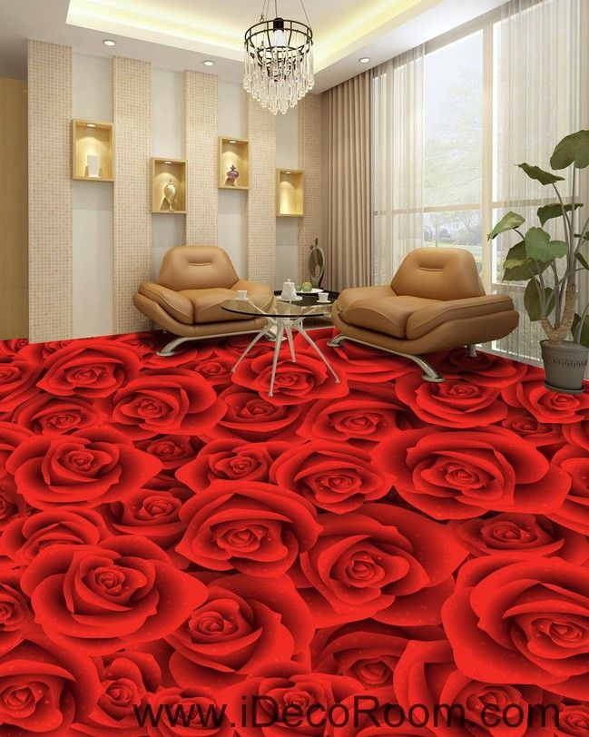 full red romantic roses 00022 floor decals 3d wallpaper on wall stickers for living room id=97013