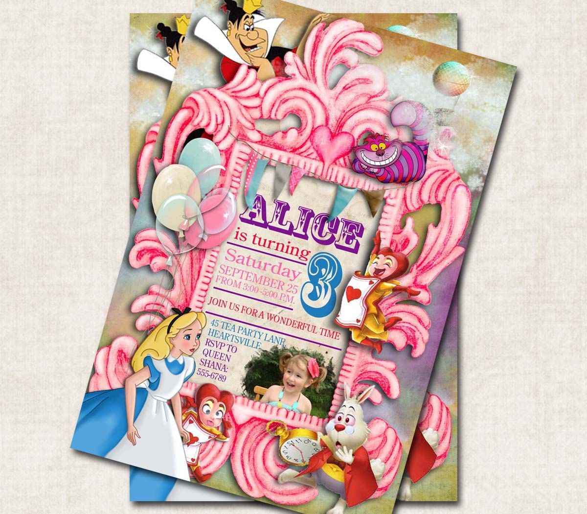 Alice In Wonderland Birthday Party Invitation Pink Digital File