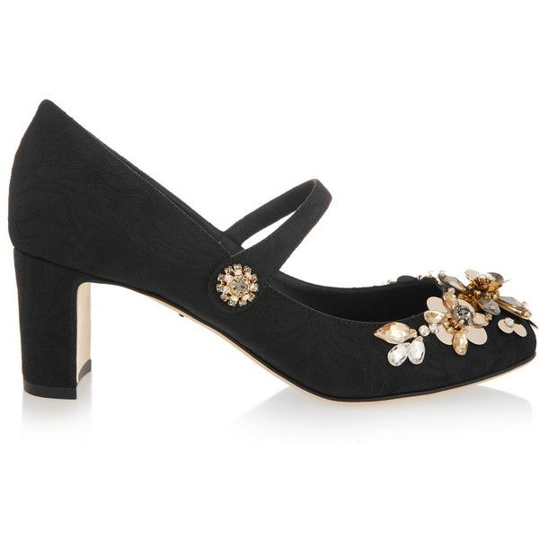 60f14937f494 Dolce   Gabbana Embellished brocade Mary Jane pumps ( 875) ❤ liked on Polyvore  featuring shoes