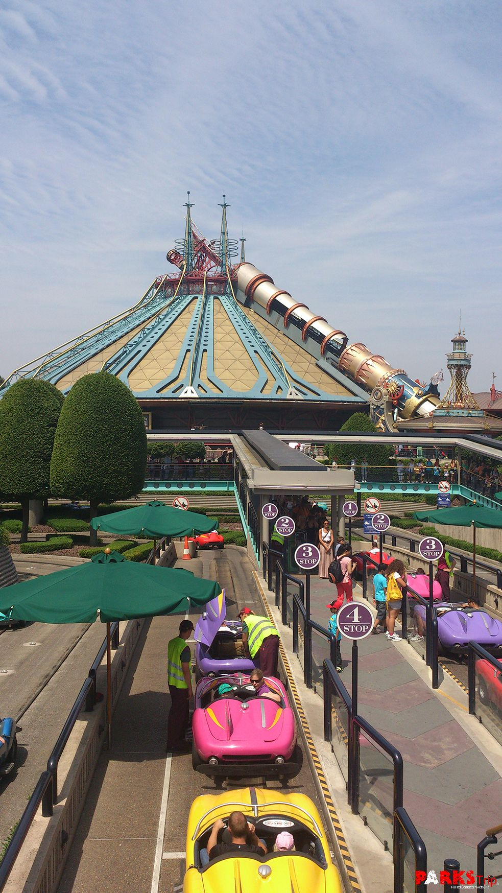 A view of Autopia and Space mountain in Discoveryland ...