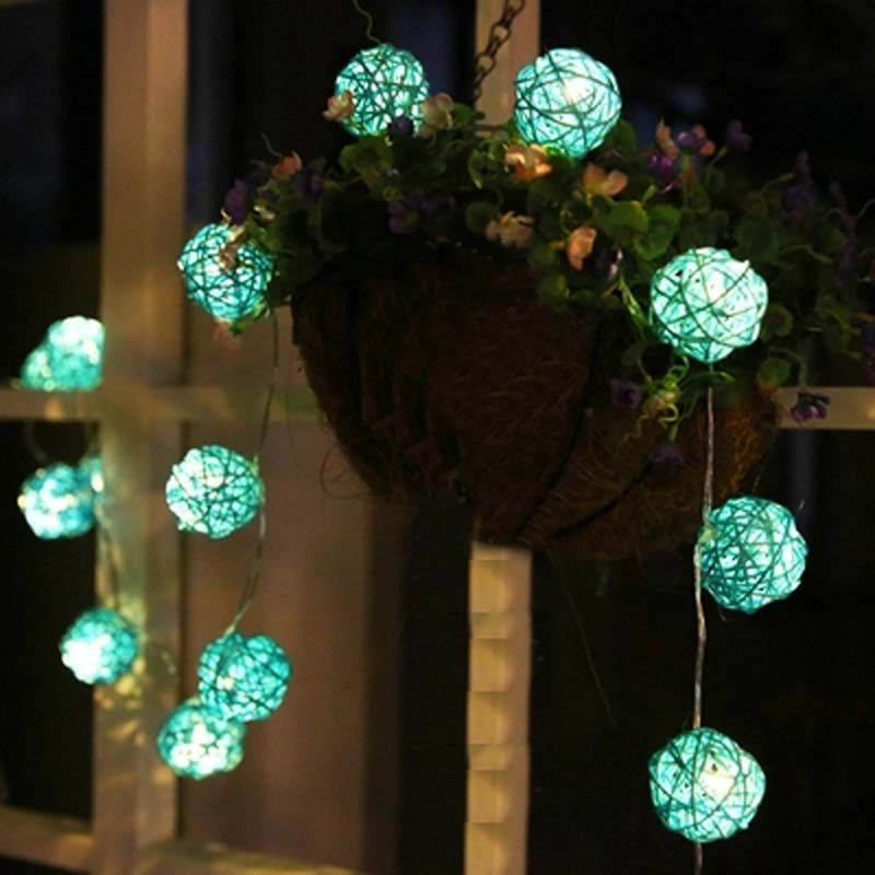 20 rattan balls led christmas lights battery operated garland lights ac plug string fairy lights guirlande