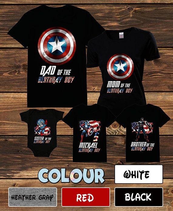 67e36387e5118b Captain America Family T-shirt Captain America Birthday Family Shirt  Captain America Birthday Party