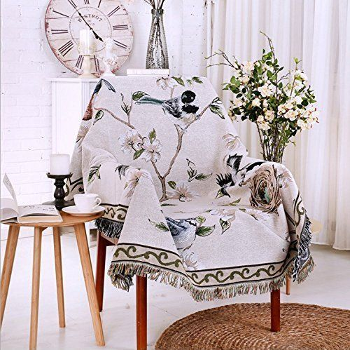 Bedding American Village Magpie Flowers And Birds High Grade Cotton Knitted Fabric Sofa Blanket Sofa Covered Towel Decorative Blanket