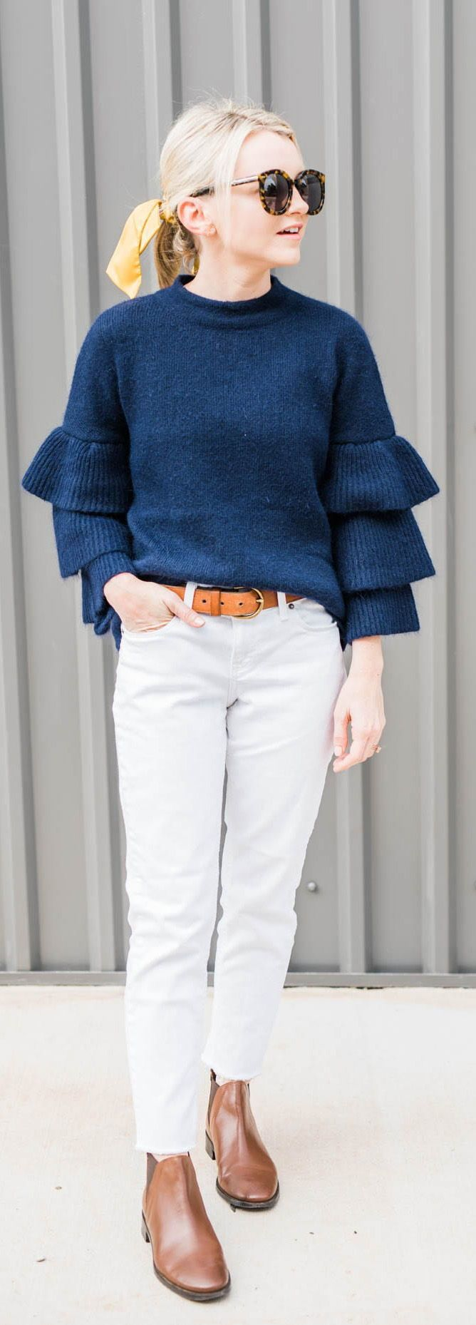How to Style White Jeans for Fall - Dressed for My Day