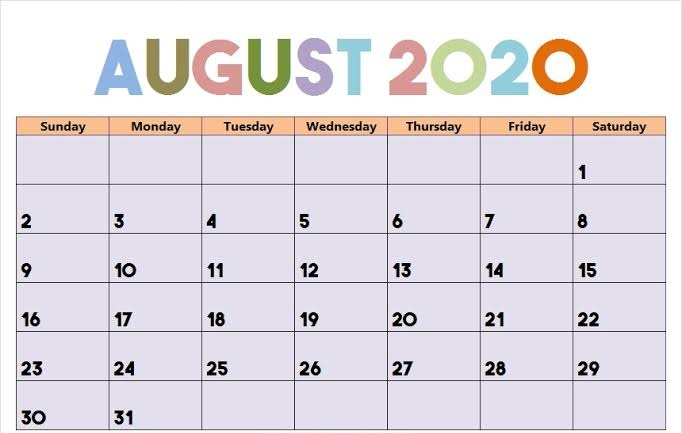Cute August 2020 Calendar Plan Your Day In Second