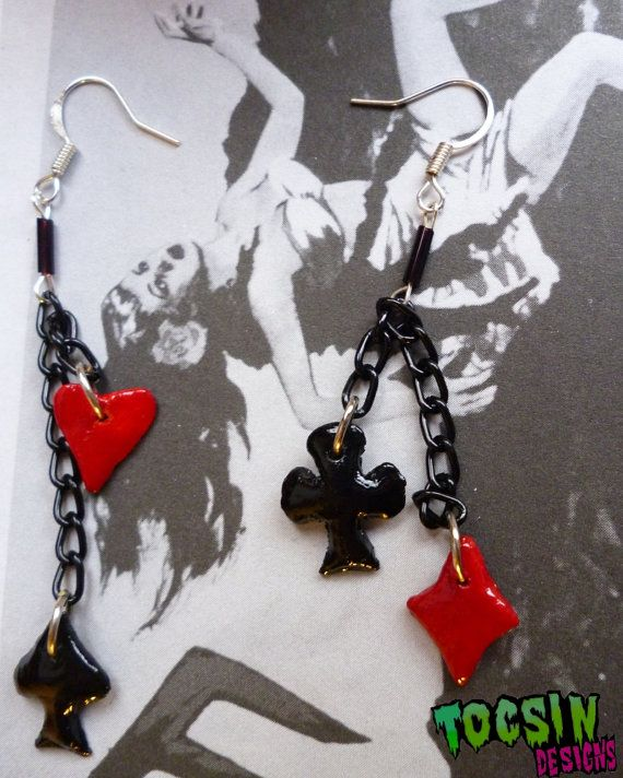 CARD SUIT EARRINGS playing cards pin up by TocsinDesigns on Etsy, $4.99
