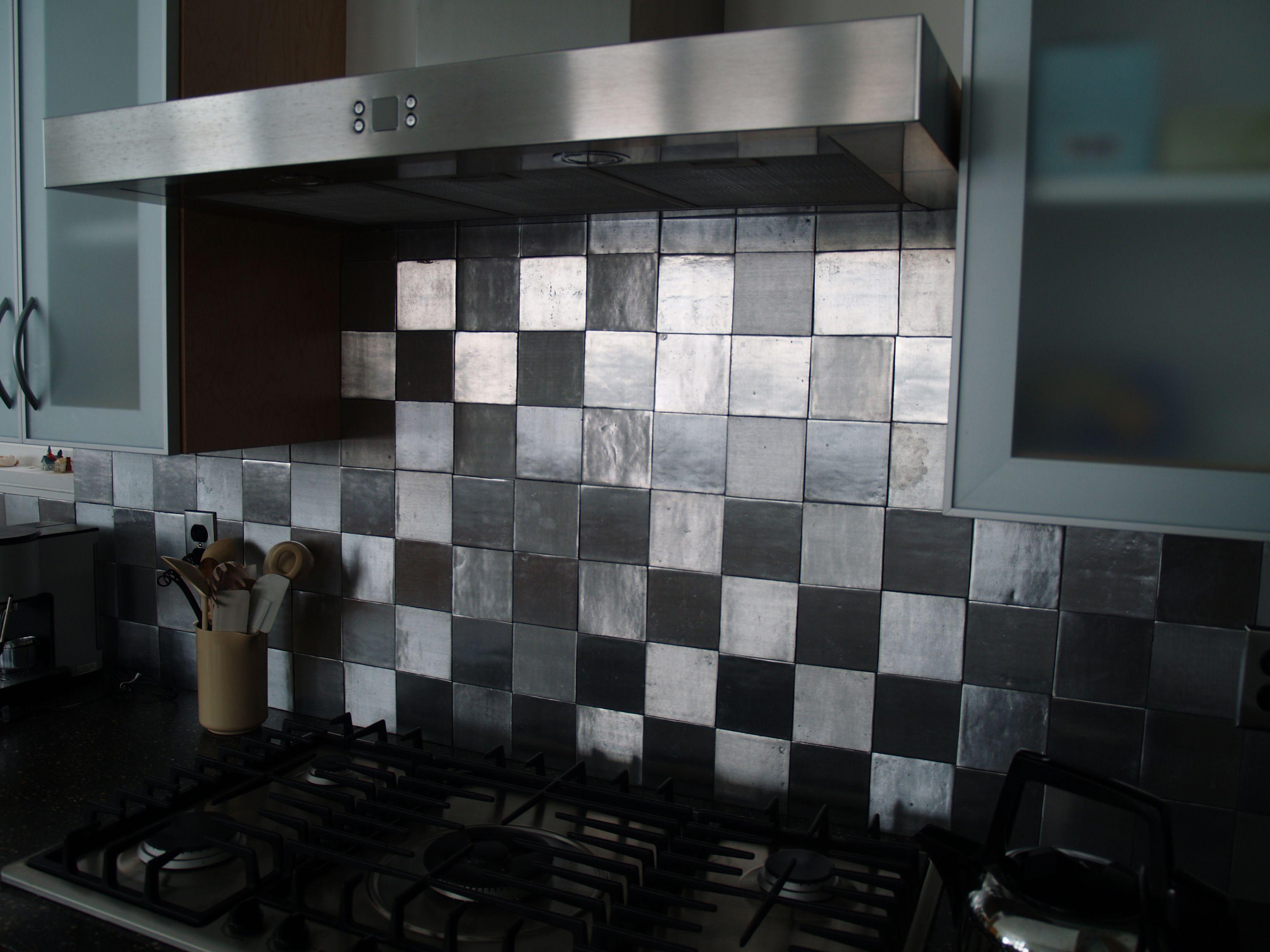 Black and metal square back splash kitchens pinterest