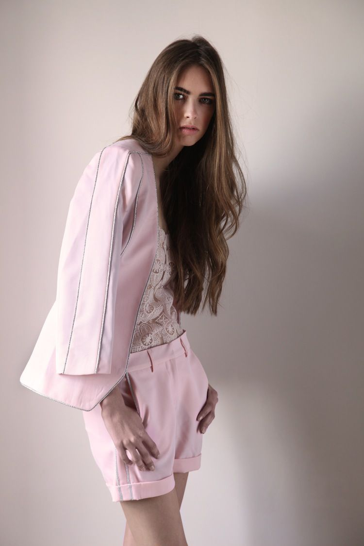 3b88084a9d La Condesa tailor suit. Pink jacket with silver pipping