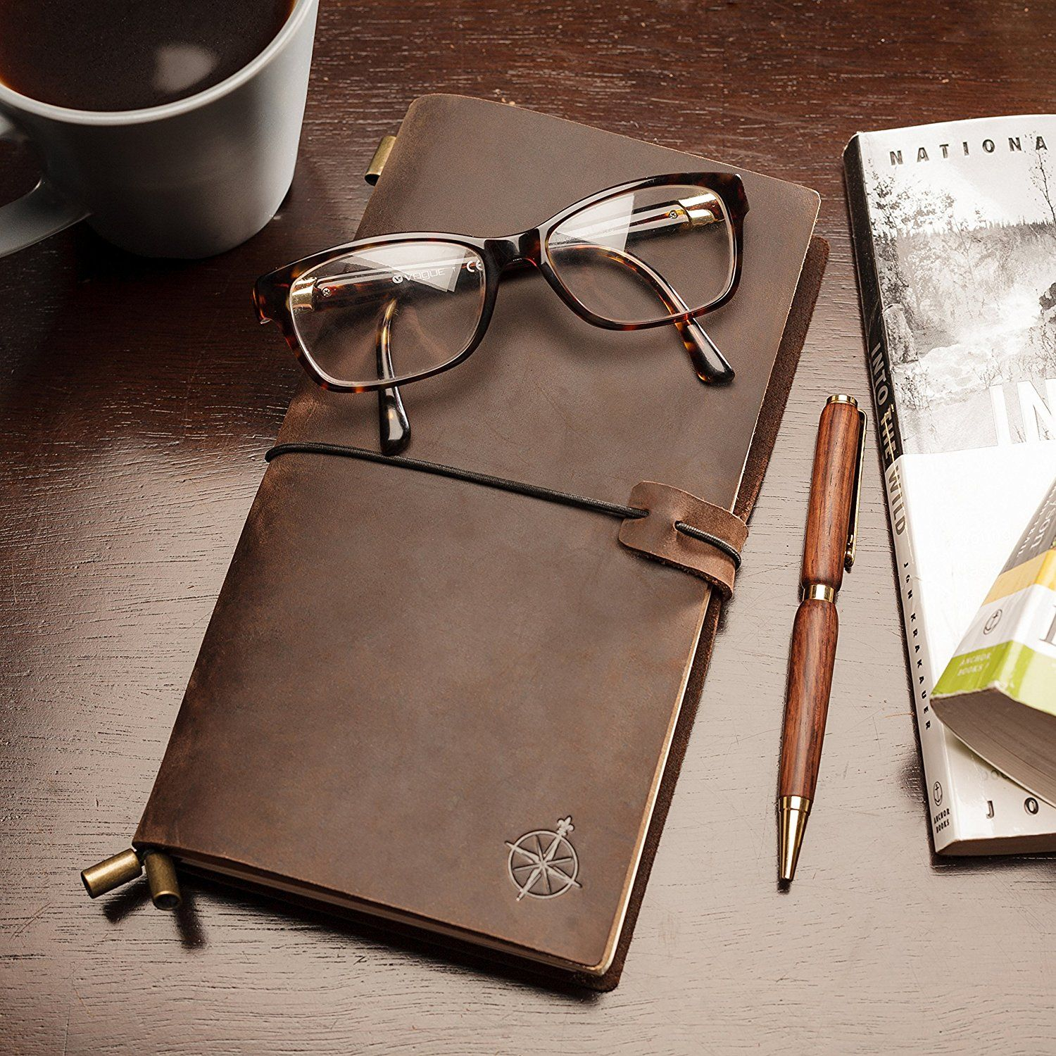 7aa371e4372 Amazon.com : Wanderings Leather Notebook Journal   Leather Bound,  Refillable   Perfect for Writing, Gifts, Fountain Pen Users, Travelers,  Professional, ...