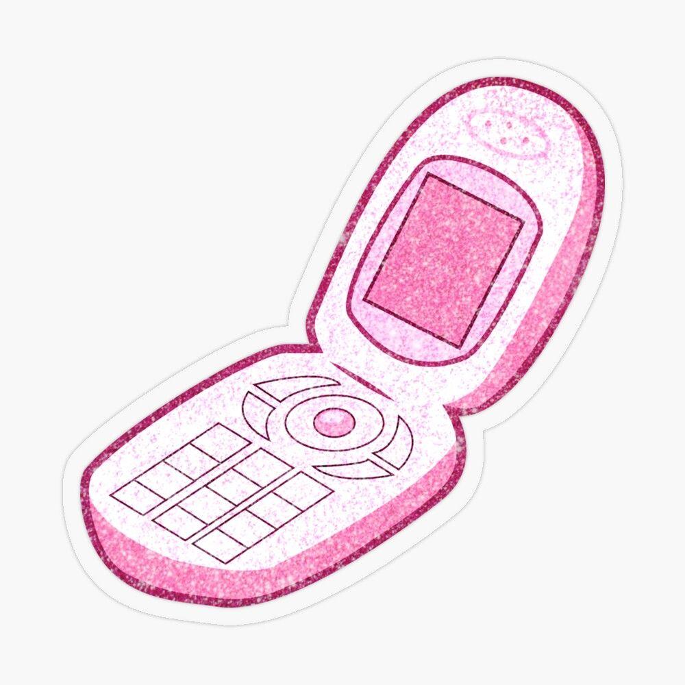 Y2k Flip Phone Pink Sparkly Sticker By Nabibibi In 2021 Baby Pink Aesthetic Pink Sparkly Pink Aesthetic