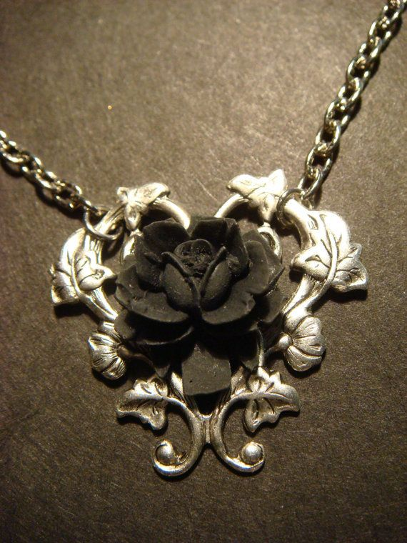 Black Rose Necklace with Beautiful Heart Vines on Wanelo  3b4c8f4cf4f3